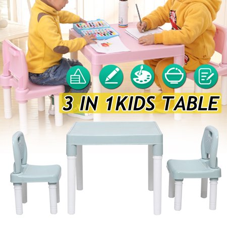 Children's Table & Chair Set 3-Piece Playroom Set Nursery Activity Home Classroom Furniture Toy Gift For Toddler Kids Indoor Outdoor ()