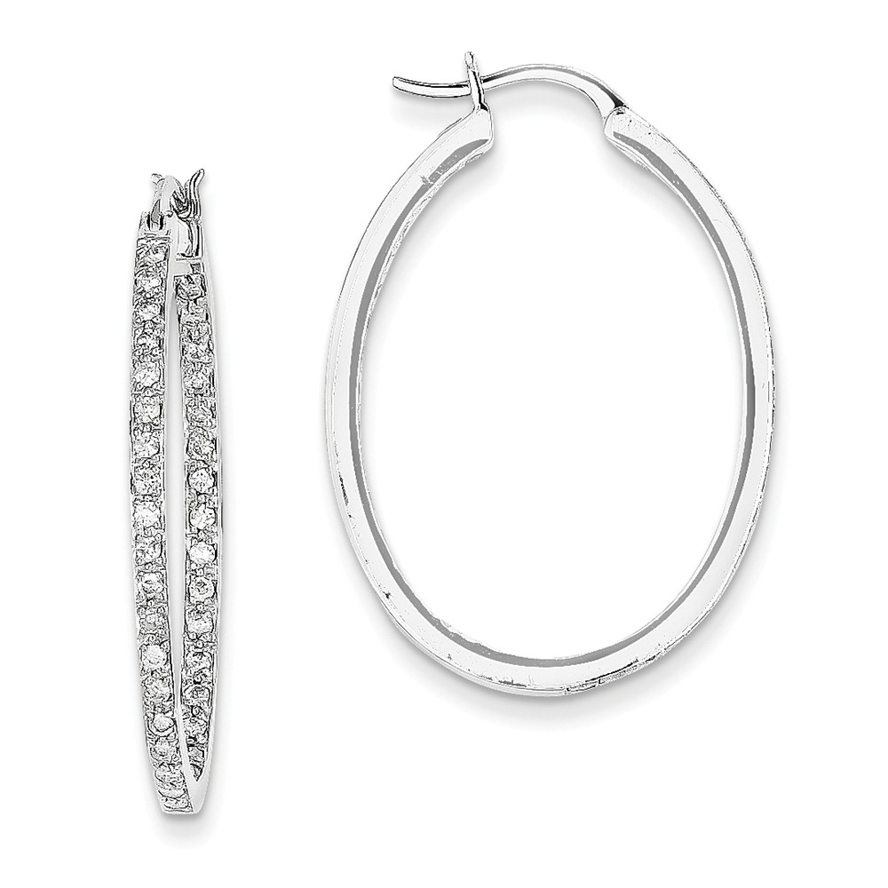 14K White Gold (0.64cttw) Aa Quality Completed Diamondin/out Hoop Earrings (21mm x 2mm)
