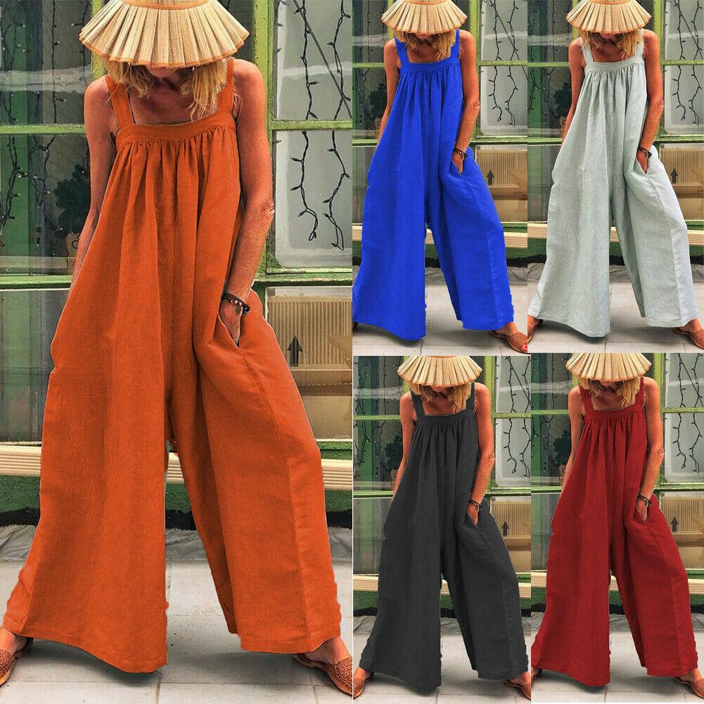 perfect quality quite nice latest design Multitrust Womens Overalls Loose Dungarees Ladies Cami Romper Baggy  Playsuit Jumpsuit