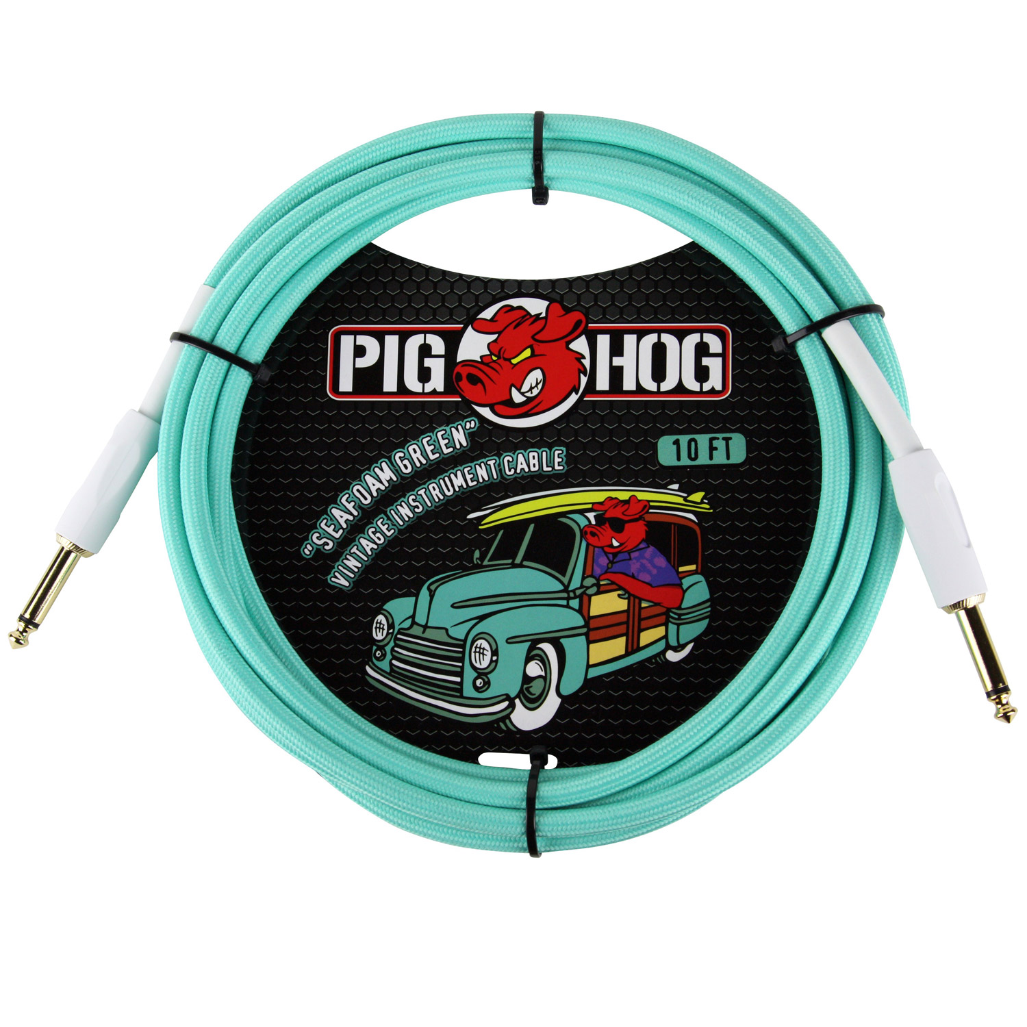 "Pig Hog PCH10SG ""Seafoam Green"" Instrument Cable, 10ft"