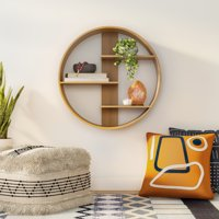 MoDRN Natural Boho Round Wood Wall Shelf