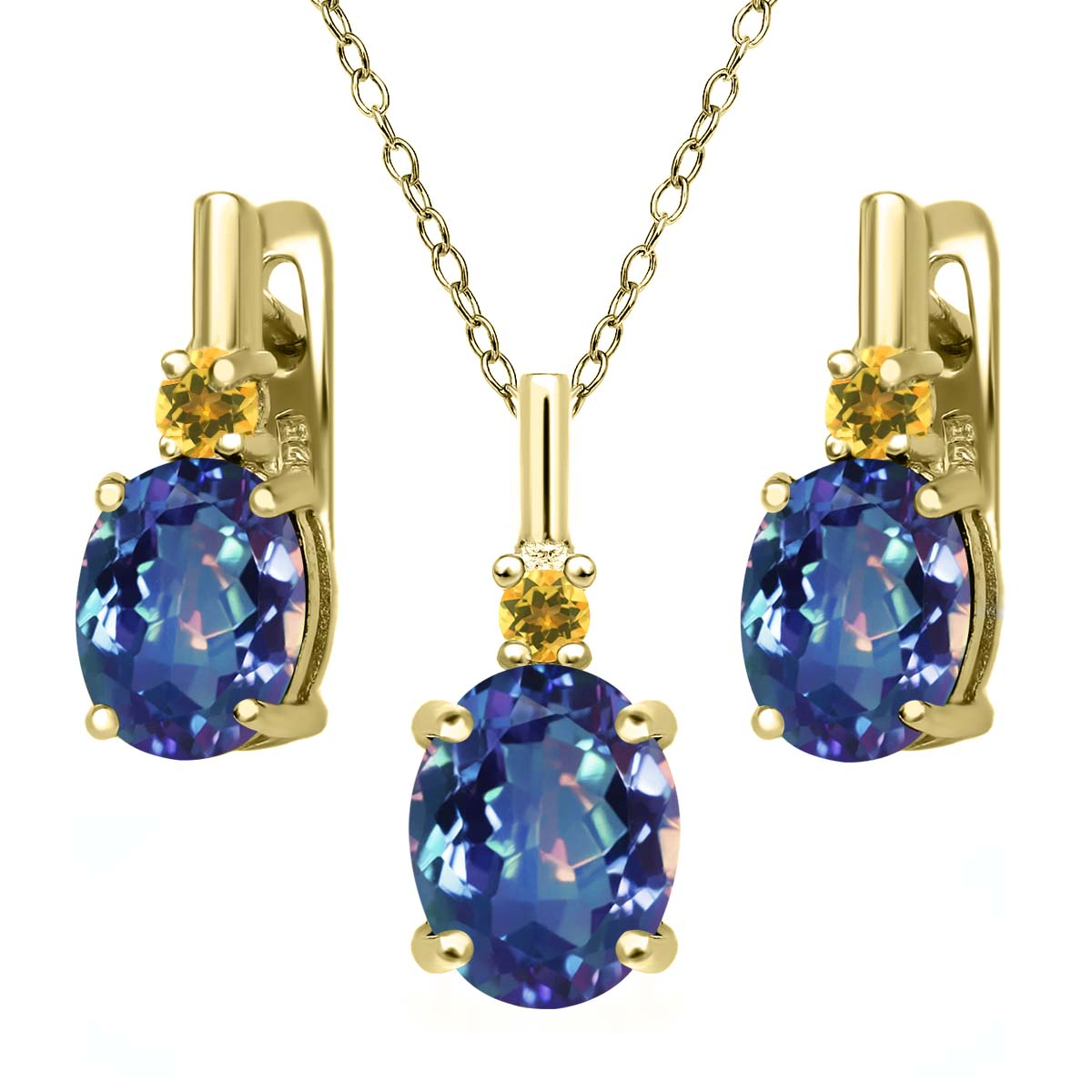 Blue Mystic Quartz Simulated Citrine 18K Gold Plated Silver Pendant Earrings Set by