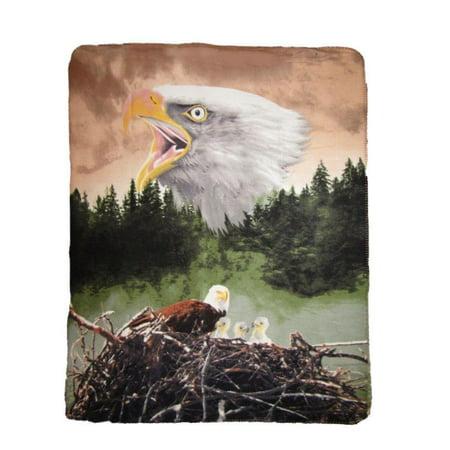 American Bald Eagle Nest Forest Nature 50x60 Polar Fleece Blanket Throw ()