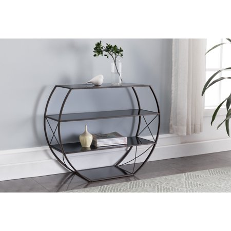 Parker Pewter Metal & Black Tempered Glass Modern Entryway Console Table With 4 Storage Shelves ()