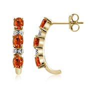 Mandarin Garnet and Diamond Accent Earrings Gold Over Silver