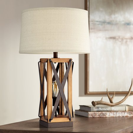 Franklin Iron Works Farmhouse Table Lamp with Nightlight LED Bronze and Wood Tone Off White Burlap Shade for Living Room Bedroom ()