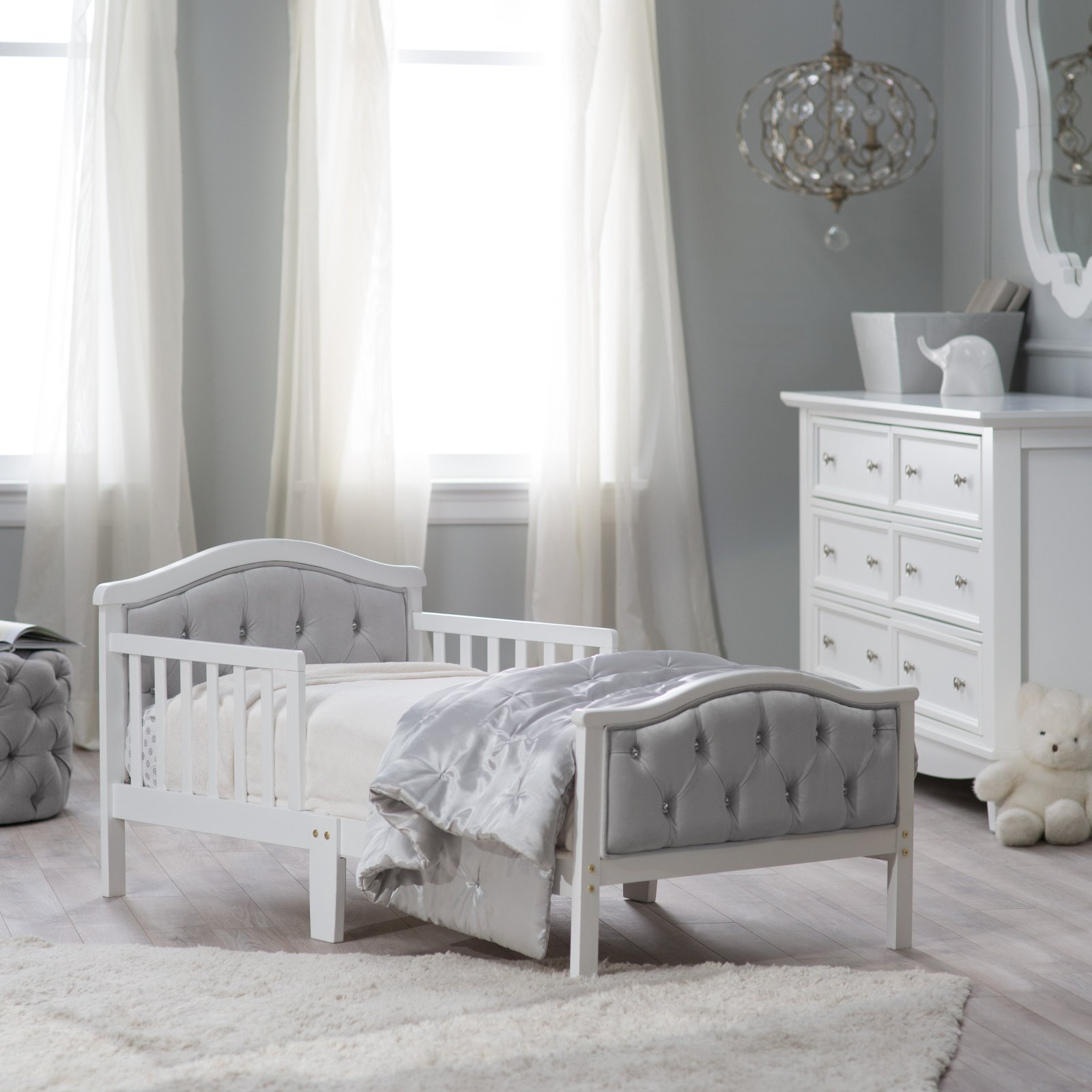 Orbelle Upholstered Toddler Bed, Off-White, With Bed Rails