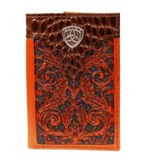 Ariat Western Wallet Mens Trifold Floral Tooled Tan A3516408