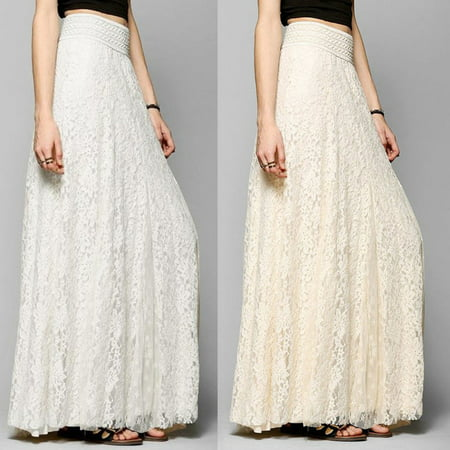 Fashion Women High Waist Stretchy Double Lace Layer Chiffon Maxi Long (Hippie Lace Skirt)