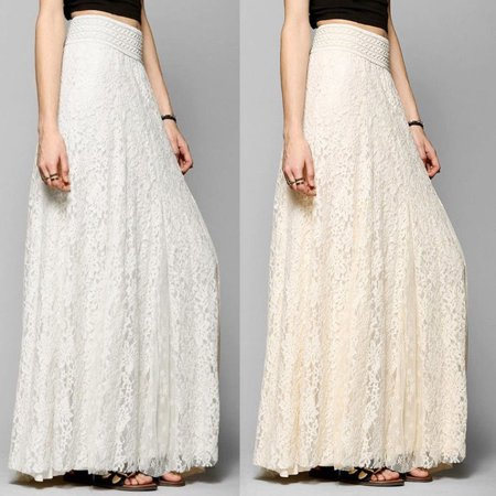 Fashion Women High Waist Stretchy Double Lace Layer Chiffon Maxi Long Skirt - Windy Skirts