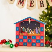 "Glitzhome Countdown to Christmas Wooden House Nativity Advent Calendar, 11.93""H"