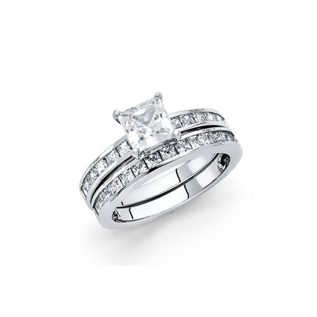 14K Solid White Gold 1.25 cttw Princess Cut Cubic Zirconia Engagement Wedding Ring, 2 Piece Bridal Set, Size 8.5 Princess Cut Engagement Wedding Ring