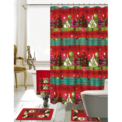The Holiday Aisle Christmas Bathroom Decor 18 Piece Shower Curtain Set