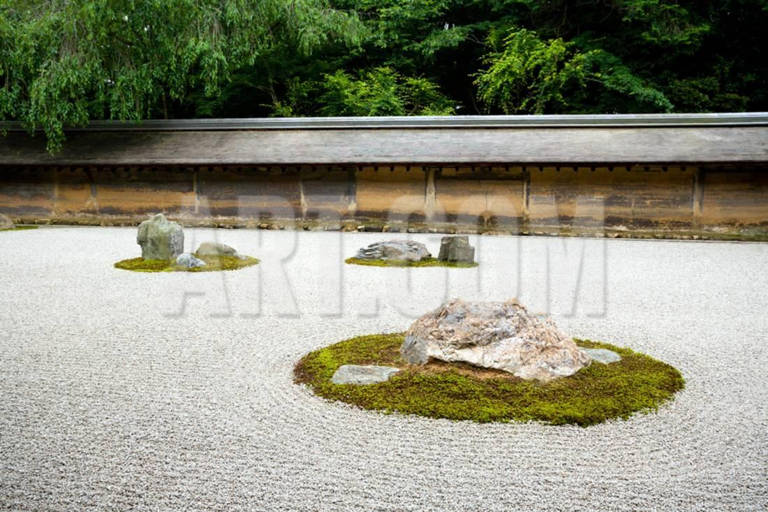 A Zen Rock Garden In Ryoanji Temple.In A Garden Fifteen Stones On White  Gravel. Kyoto.Japan. Print Wall Art By Stanislav Komogorov