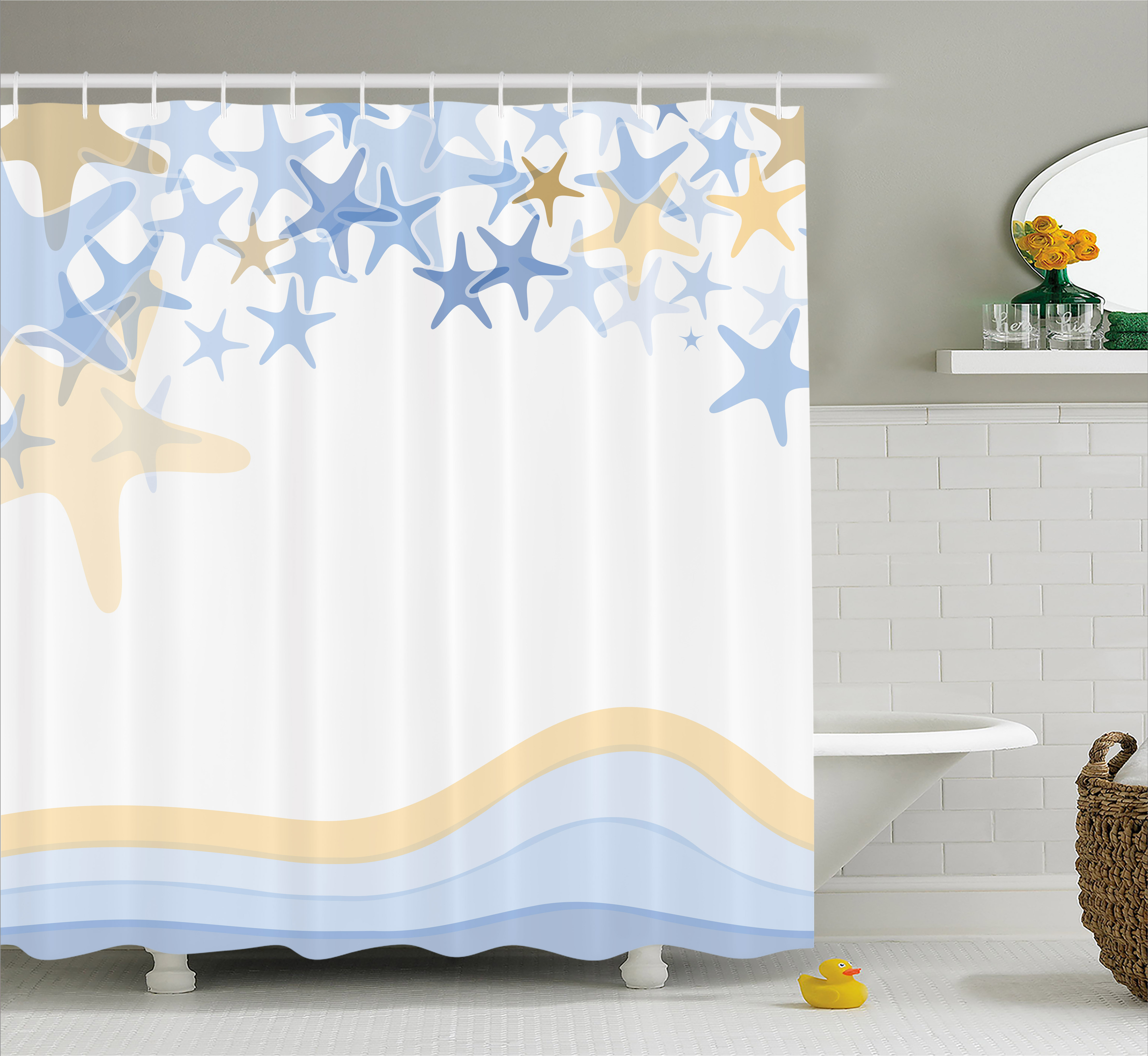 Starfish Decor Shower Curtain, Wavy Stripes Ocean Inspired Design Starfishes Sky Aquatic Sea Life Theme, Fabric Bathroom Set with Hooks, 69W X 84L Inches Extra Long, Multicolor, by Ambesonne