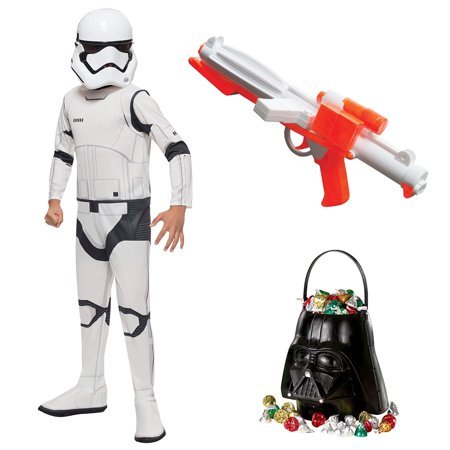 Star Wars Episode VII: The Last Jedi - Storm Trooper Child Costume with Blaster and Candy Pail - Size MEDIUM