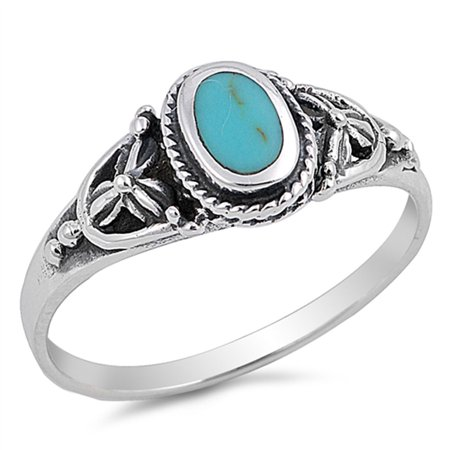 CHOOSE YOUR COLOR Simulated Turquoise Solitaire Bali Rope Flower Ring .925 Sterling Silver Band