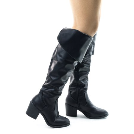 Cheap Thigh High Boots Size 10 (Louie03 by Bamboo, Faux Suede Thigh High Over Knee Boots w Block Heel & Foldable)