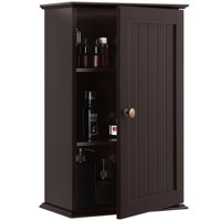 3 Tiers Wall Mounted Cabinet Storage Louver Door Cabinet (Espresso)