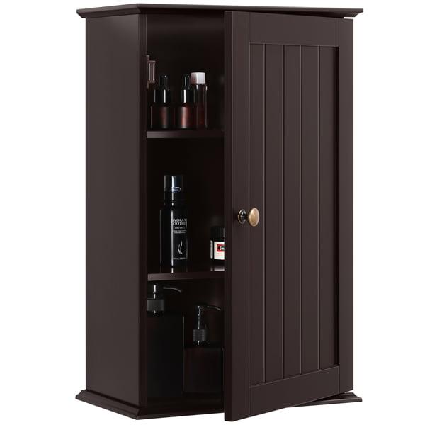 Easyfashion Wall Mounted 3 Tier Storage Cabinet For Bathroom Or Kitchen Espresso Walmart Com Walmart Com