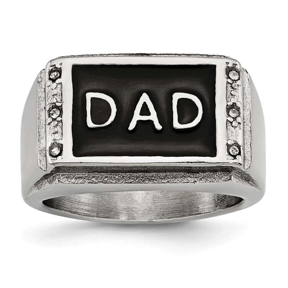 14.65mm Stainless Steel Polished Black Enameled CZ Dad Ring - Size 10