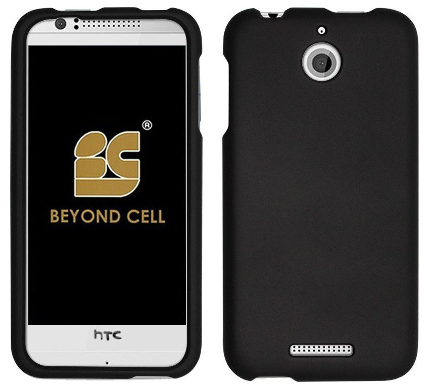 BLACK RUBBERIZED HARD SHELL CASE PROTEX COVER FOR HTC DESIRE 510 PHONE