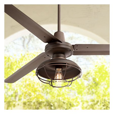 60 Casa Vieja Modern Outdoor Ceiling Fan With Light Remote Control Cage Oil Rubbed