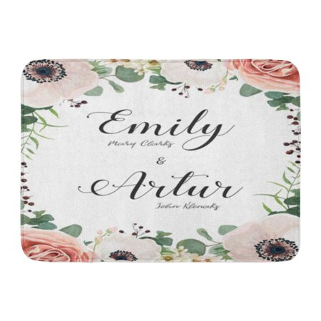 Moody Roses (GODPOK Floral Elegant Garden Flower Antique Moody Peach Rose White Wax Anemone Green Blue Eucalyptus Delicate Rug Doormat Bath Mat 23.6x15.7 inch )