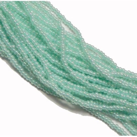 Green Pearl Ceylon Czech 8/0 Glass Seed, Loose Beads, 12 Strand Hank