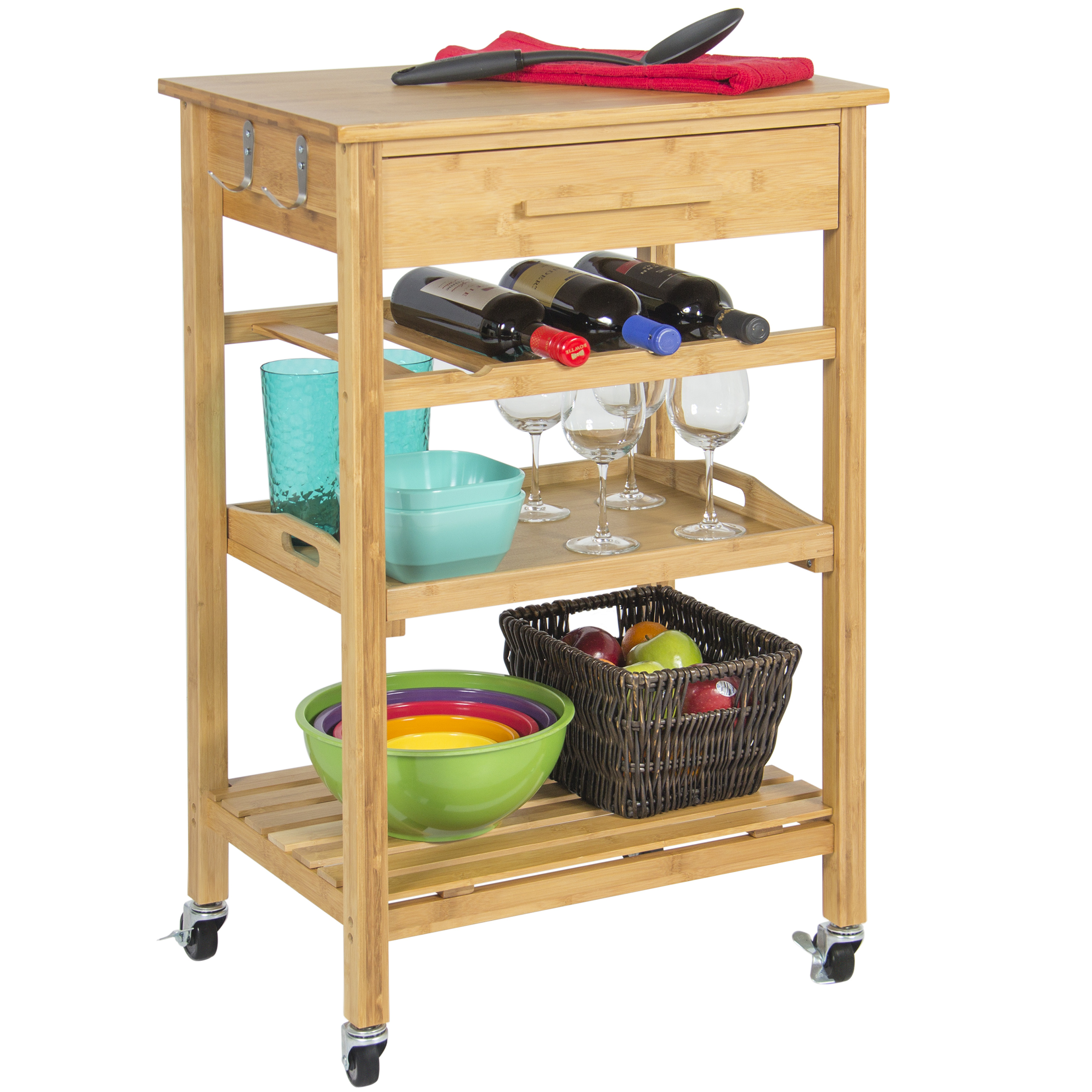 Rolling Wood Kitchen Storage Cart Rack With Drawer & Shelves Home ...