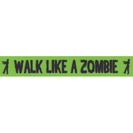 Country Brook Design® 5/8 Inch Green Walk Like a Zombie Grosgrain Ribbon Closeout, 5 Yards