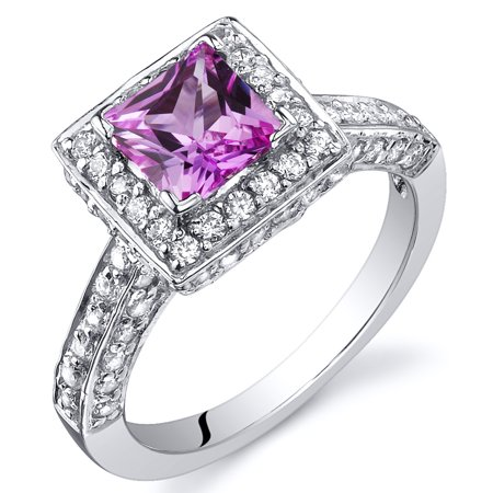 (Peora 1.00 Ct Princess Cut Created Pink Sapphire Engagement Ring in Rhodium-Plated Sterling Silver)