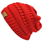 Luxury Divas Slouchy Knit Oversize Beanie Cap Hat