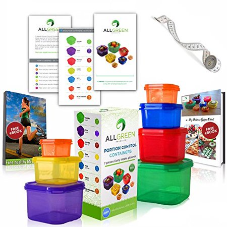 One Day Sale - 7 Piece Portion Control Containers Colored Set Meal Prep Kit for Weight Loss + Recipe E-Book + Healthy Lifestyle E-Book + Professional User Guide + Measuring Tape by All-Green