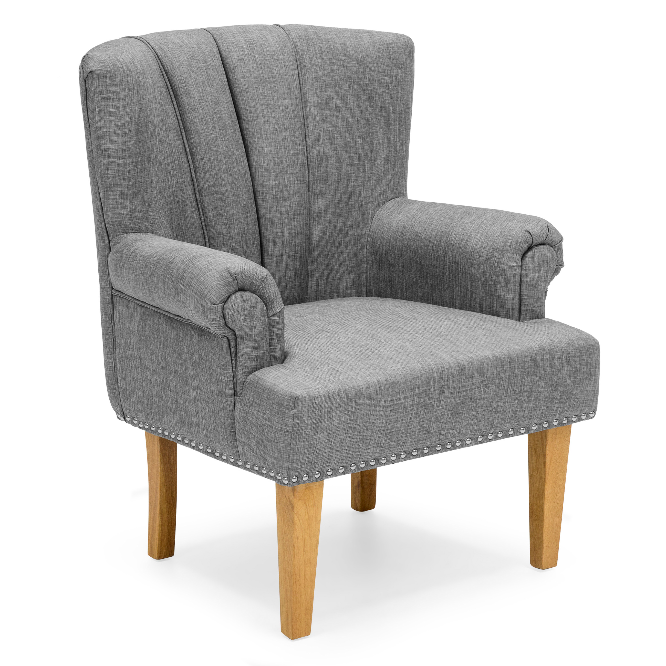 Best Choice Products Living Room Accent Chair w/ Nailhead Detail, Linen Upholstery, Armrest, and Wood Legs (Gray)