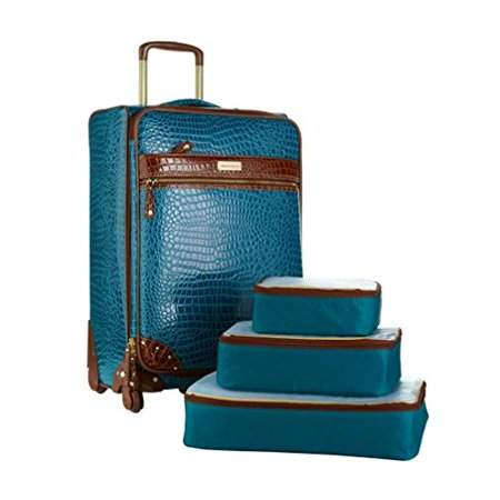 Samantha Brown 28  Upright Spinner With 3 Piece Packing Cubes   Peacock