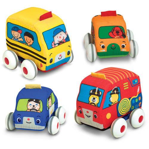 Melissa & Doug K's Kids Pull-Back Vehicle Set Soft Baby Toy Set With 4 Cars and Trucks and Carrying Case by Generic