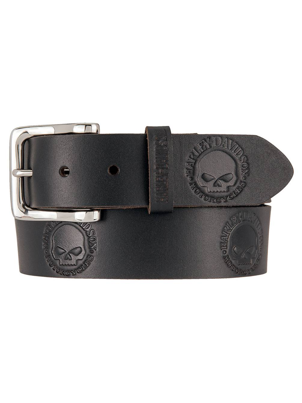 "Harley-Davidson® Mens Willie-G Skull Embossed Black Leather Belt 1.5/"" HDMBT10614"