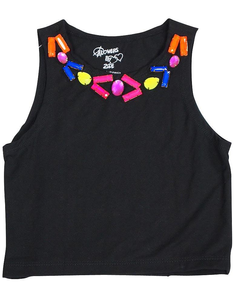 Flowers by Zoe - Girls Sleeveless Cropped Top - 5 Styles Black / 2T