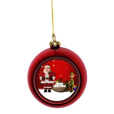 Merry Christmas Santa Claus and Elf Bauble Christmas Ornaments Red Bauble Tree Xmas Balls - Elf From Santa Claus