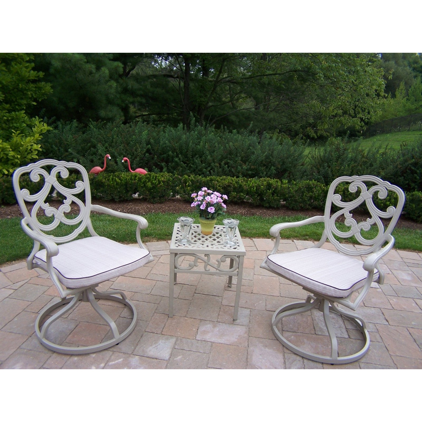 Oakland Living Pacifica Cast Aluminum Swivel Rocker Set - Beach Sand