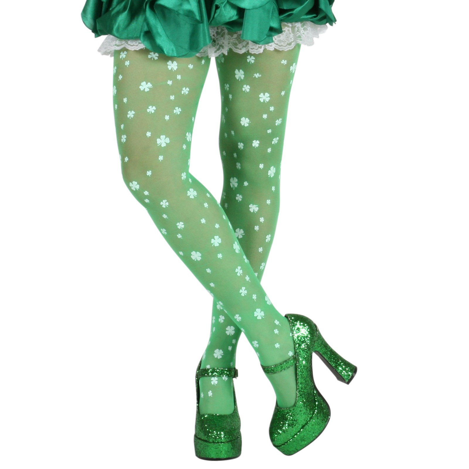 Green and White St. Patrick's Day Shamrock Tights