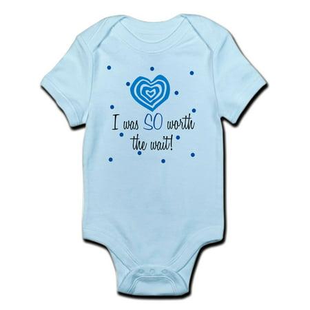 CafePress - I Was Worth The Wait Blue Baby Infant Bodysuit - Baby Light - Baby Blue Baby