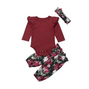 Baby Girls Ruffle Fly Long Sleeve Romper and Floral Pants Fall Winter Clothes Set with Headband 18-24M