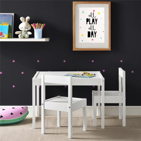 Baby Relax Hunter 3-Piece Kiddy Table & Chair Kids Set, White