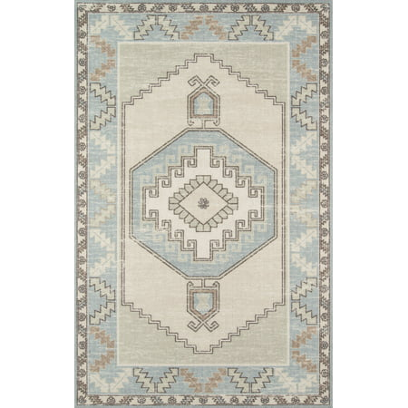 Momeni Anatolia Wool and Nylon Machine Made Light Blue Area Rug 5'3