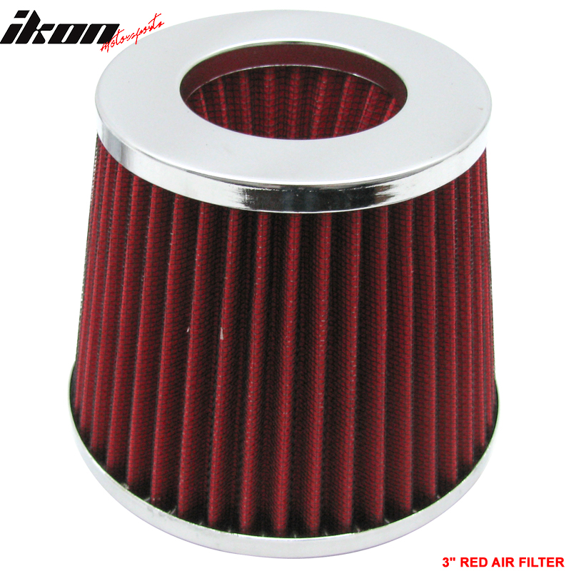 Red 3 Inch Air Filter Cold Intake Chrome Inlet Short Ram Round Cone KN Type