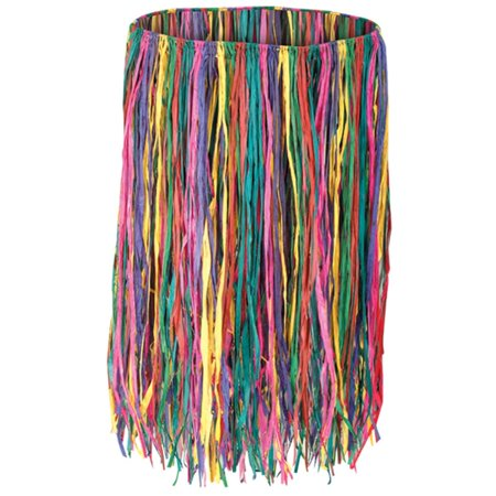 Club Pack of 12 Tropical Multi-Colored Adult Extra Large Sized Raffia Hula Skirts 38