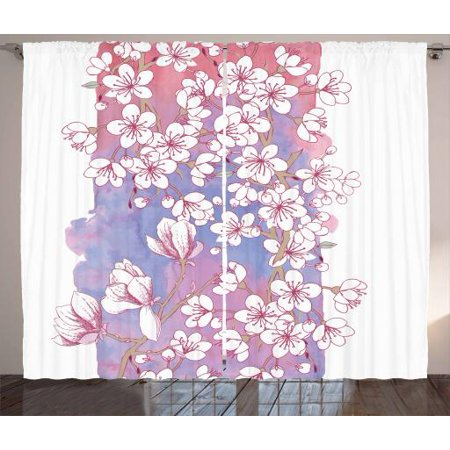 Magnolia Curtains 2 Panels Set Japanese Spring Blossom With