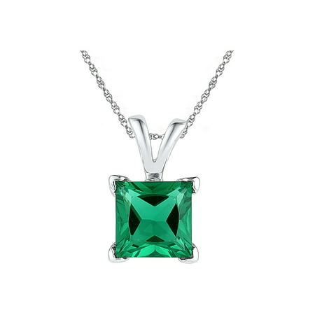 Emerald Cut Solitaire Pendant - Lab Created Solitaire Princess Cut Emerald Pendant Necklace 1.30 Carat (ctw) in 10K White Gold with Chain